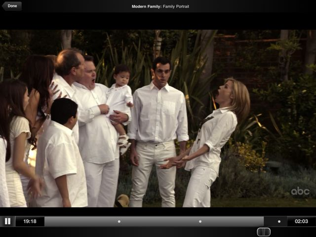 Screenshot of Modern Family Television Show on Hulu Plus on an iPad