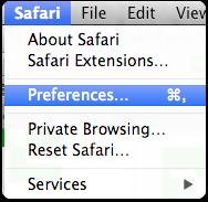 Open Safari Preferences