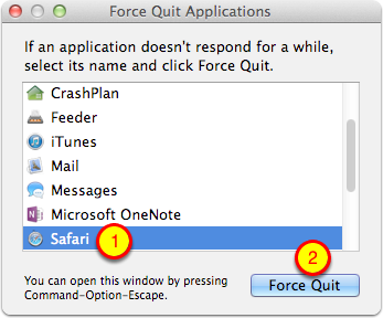 Select Safari and Force Quit