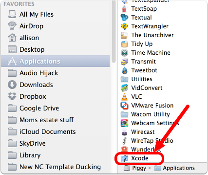 Xcode in Applications