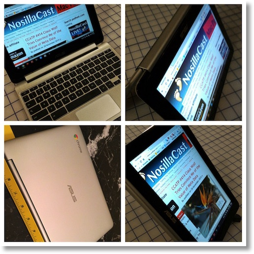 Asus Flip Book showing NosillaCast home page