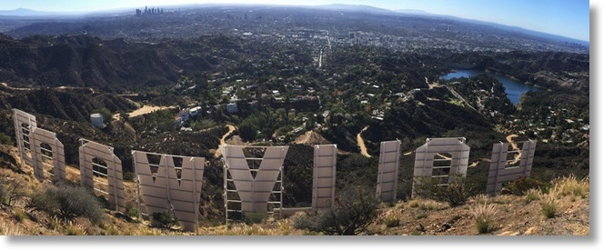 Hollywood sign from the back looking over the LA basin from signal hill to Palos Verdes to Santa Barbara Island