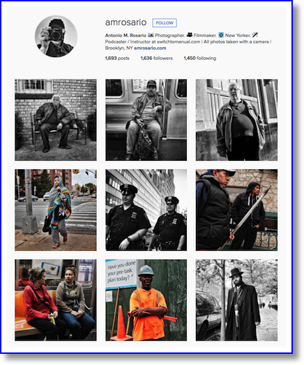 Amrosario instagram page showing b/w photos