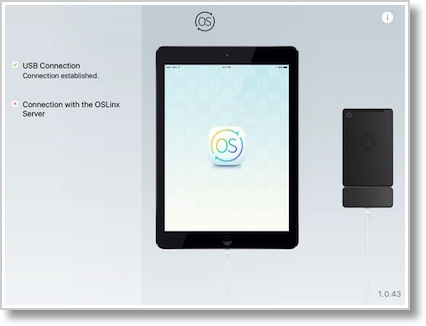 Kangaroo oslinx on iPad showing connected