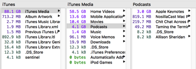 iTunes Podcasts wasting space