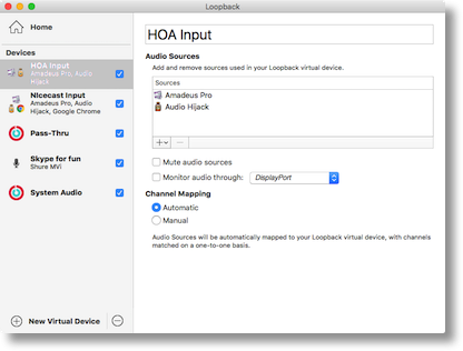Loopback settings for the HOA