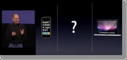 Steve jobs ipad between iPhone & MacBook