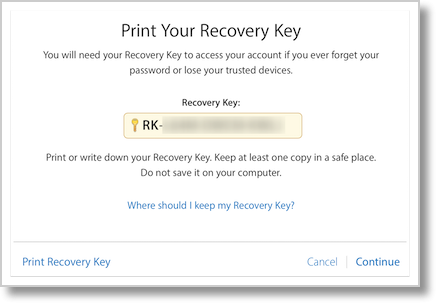 Apple 2fa recovery key