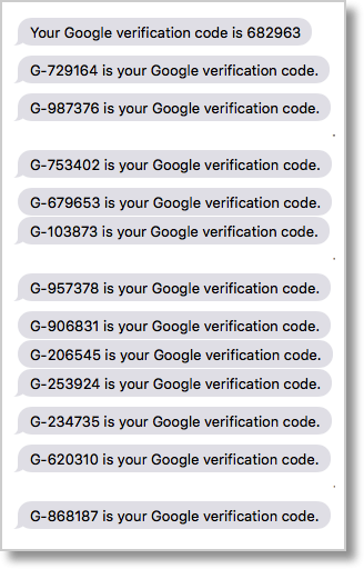 Google auth codes over and over again in Messages