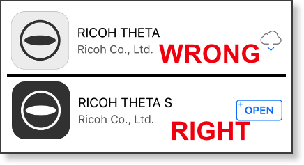 Theta apps showing the wrong one and the right one
