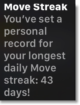 Apple watch 43 day move streak