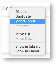 Automator ignore input semi circle