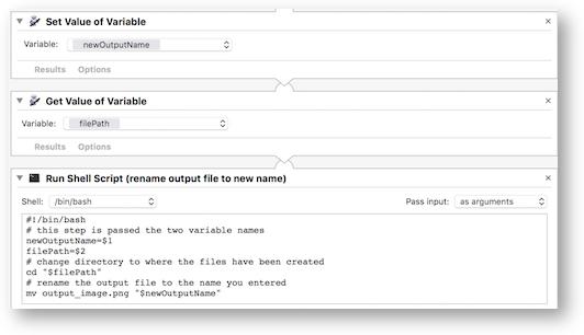 Shell script using variables