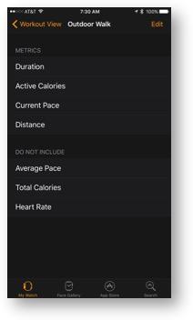 Edit outdoor walk activity metrics