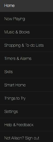 Alexa interface at amazon