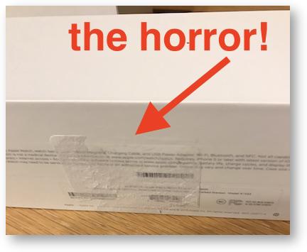 Sticker horror on apple watch box