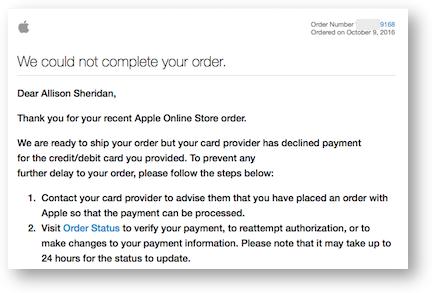Unahppy apple order