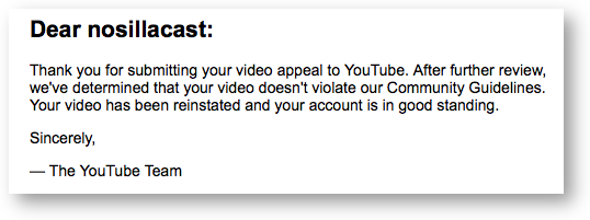 Youtube appeal approved2