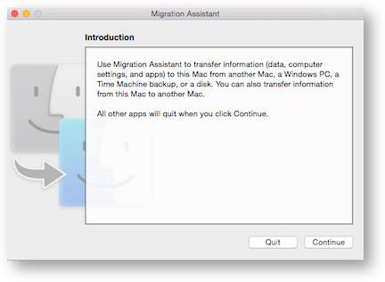 Migration assistant starting screen