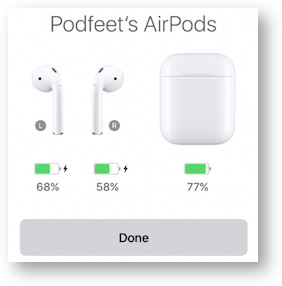 Airpods showing battery