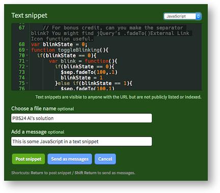 Irccloud javascript snippet