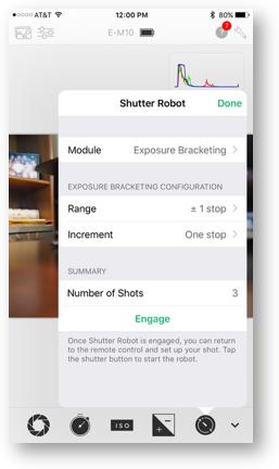 Cascable shutter robot exposure bracketing