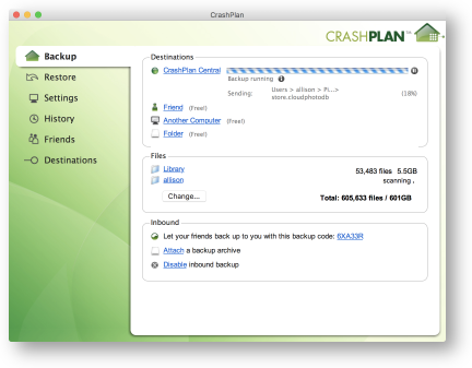 CrashPlan after 42 days is half done