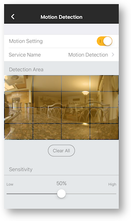Motion detection grid sensitivity