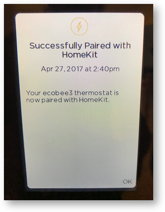 Ecobee3 paired with homekit