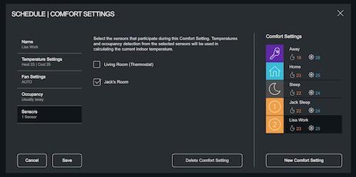 Ecobee schedule comfort settings
