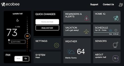 Ecobee web interface