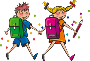 two little cartoon kids holding hands wearing backpacks and carrying pencils -  one of my favorite images