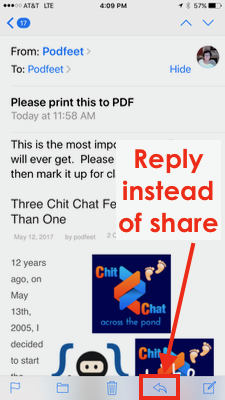 no share button in mail, hit reply instead