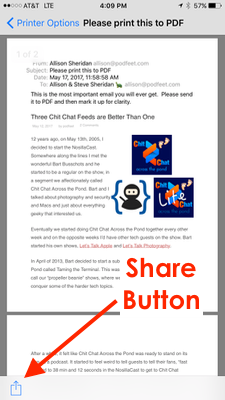 share button after pinch out