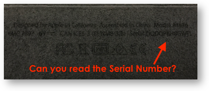 Ipad pro keyboard illegible serial number