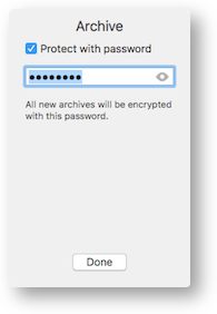 Parallels archive add password