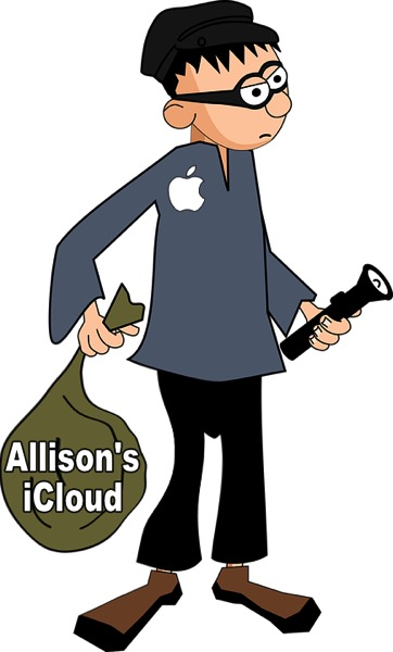 thief with apple logo on his shirt holding a bag that says Allison's iCloud on it