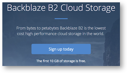 B2 page showing 10GB free