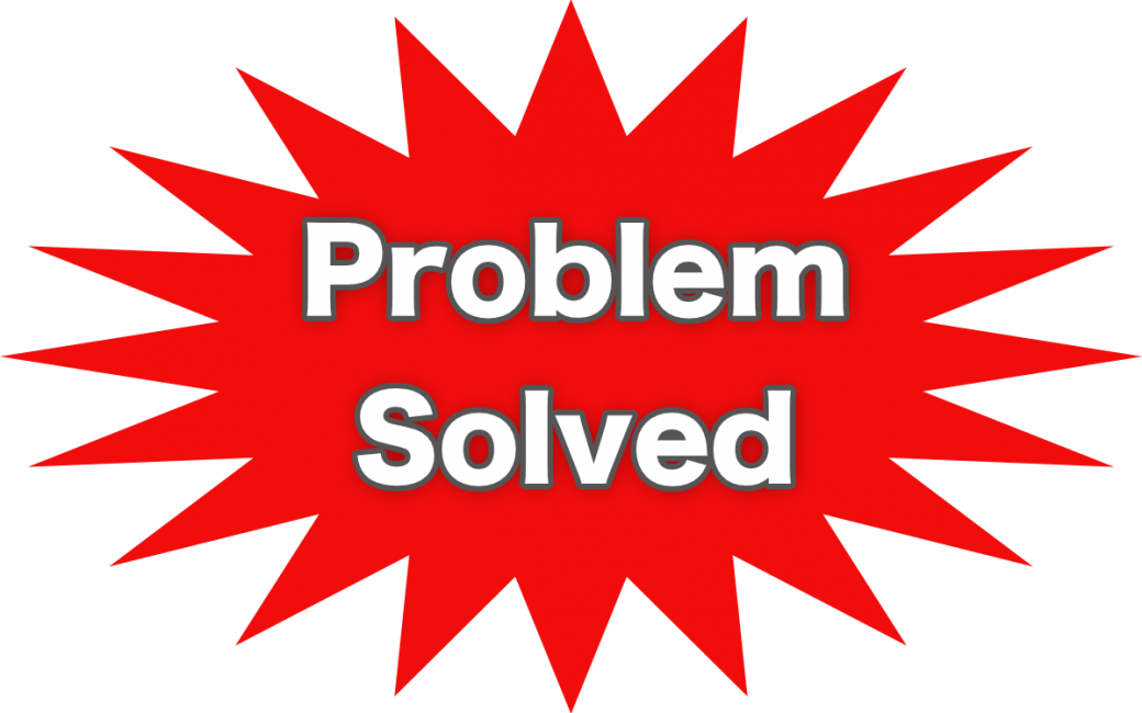 problem solved in white letters on red 20-pointed star