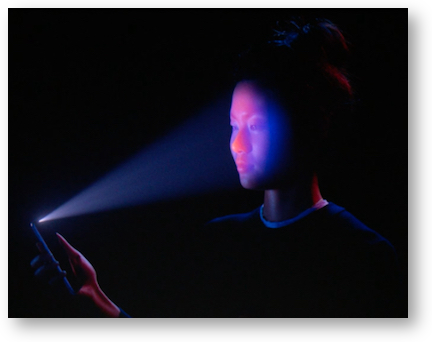 Face id woman illuminated face