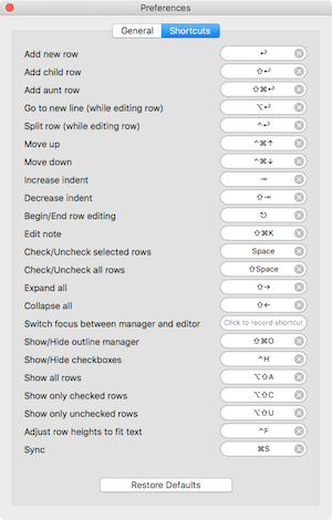 Cloud outliner keyboard shortcuts