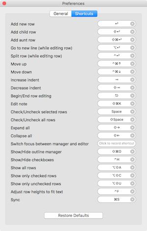 Cloud outliner keyboard shortcuts