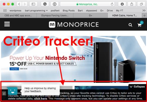 Criteo tracker monoprice