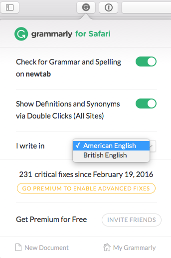 Grammarly choose your english