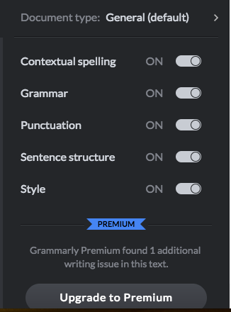 Grammarly web switches