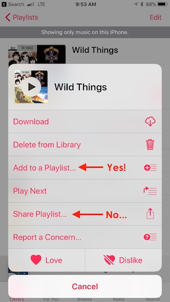 Music shared playlist hidden menu