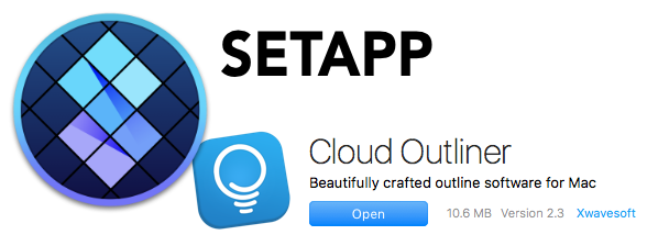 Setapp logo over Cloud Outliner logo