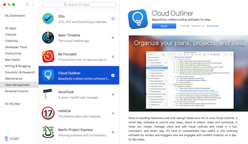 setapp highlighting cloud outliner