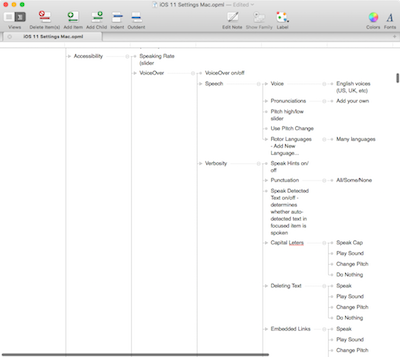IOS 11 Settings in Tree Outliner