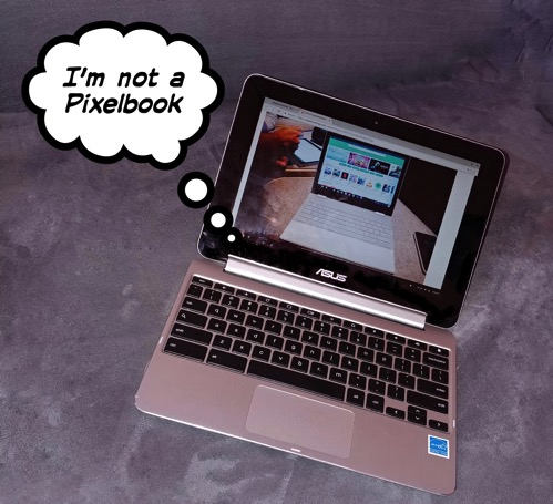 Asus Flip with thought bubble saying I am not a Pixelbook